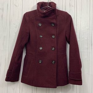 H&M MAROON PEACOAT BUTTON FRONT SIZE 4